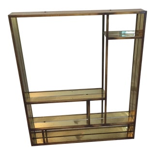 Signed Curtis Jere Brass Mirrored Shelf