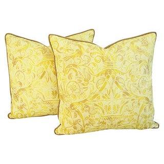 Custom Italian Fortuny Uccelli Pillows - Pair