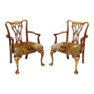A Sporting Gentleman's Leopard Chairs - a Pair