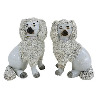 Antique Staffordshire Poodles - Pair