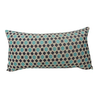 Bolster Pillow With Blue Chenille Backing
