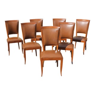 French Art Deco Solid Mahogany Dining Chairs Circa 1940s - Set of 7