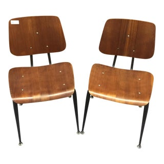 Mid-Century Modern Bentwood Walnut Chairs - A Pair