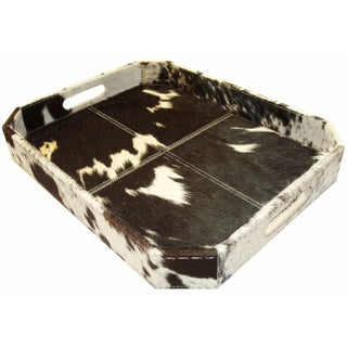 Black and White Cowhide Decorative Tray
