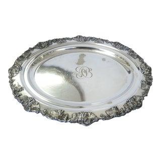 Antique Large Oval Sheffield Serving Tray Grapes Leaf Design Elegant