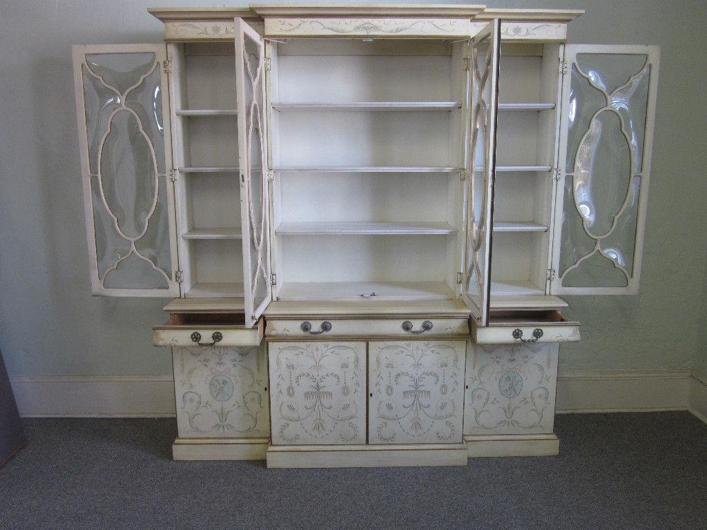 Bubble Glass Kitchen Cabinet Doors: Karges Adams White Painted Bubble Glass Breakfront