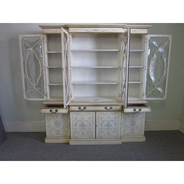 Image of Karges Adams White Painted Bubble Glass Breakfront