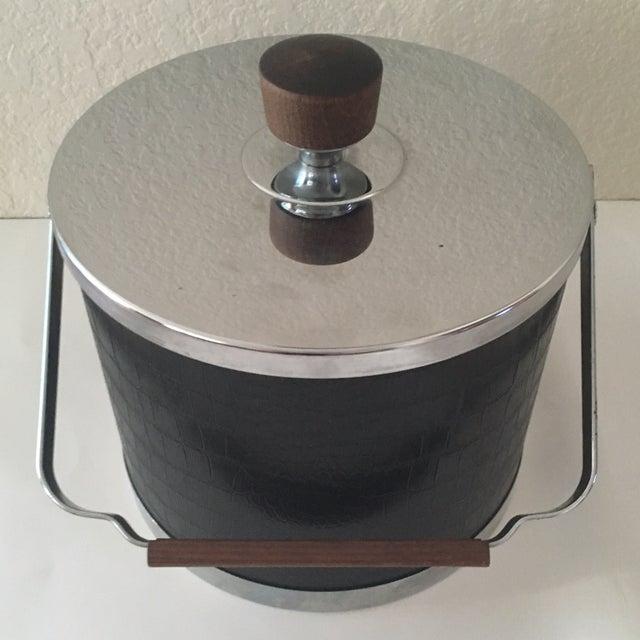 Image of Mid-Century Modern Atapco Black Croc Ice Bucket