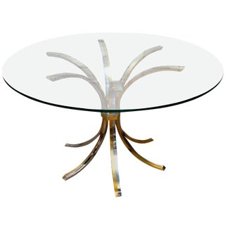 Brass and Chrome Table with Glass Top