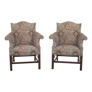 Southwood Chippendale Style Upholstered Arm Chairs - A Pair