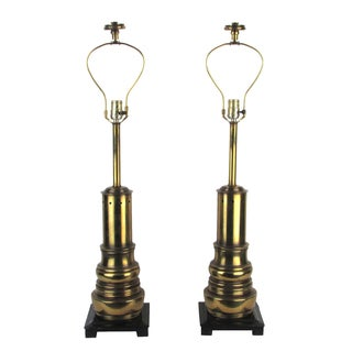 Vintage 1970s Stiffel Brass Lamps - A Pair