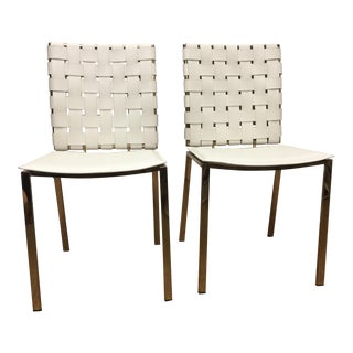 White Leather & Lacquered Brass Chairs - A Pair