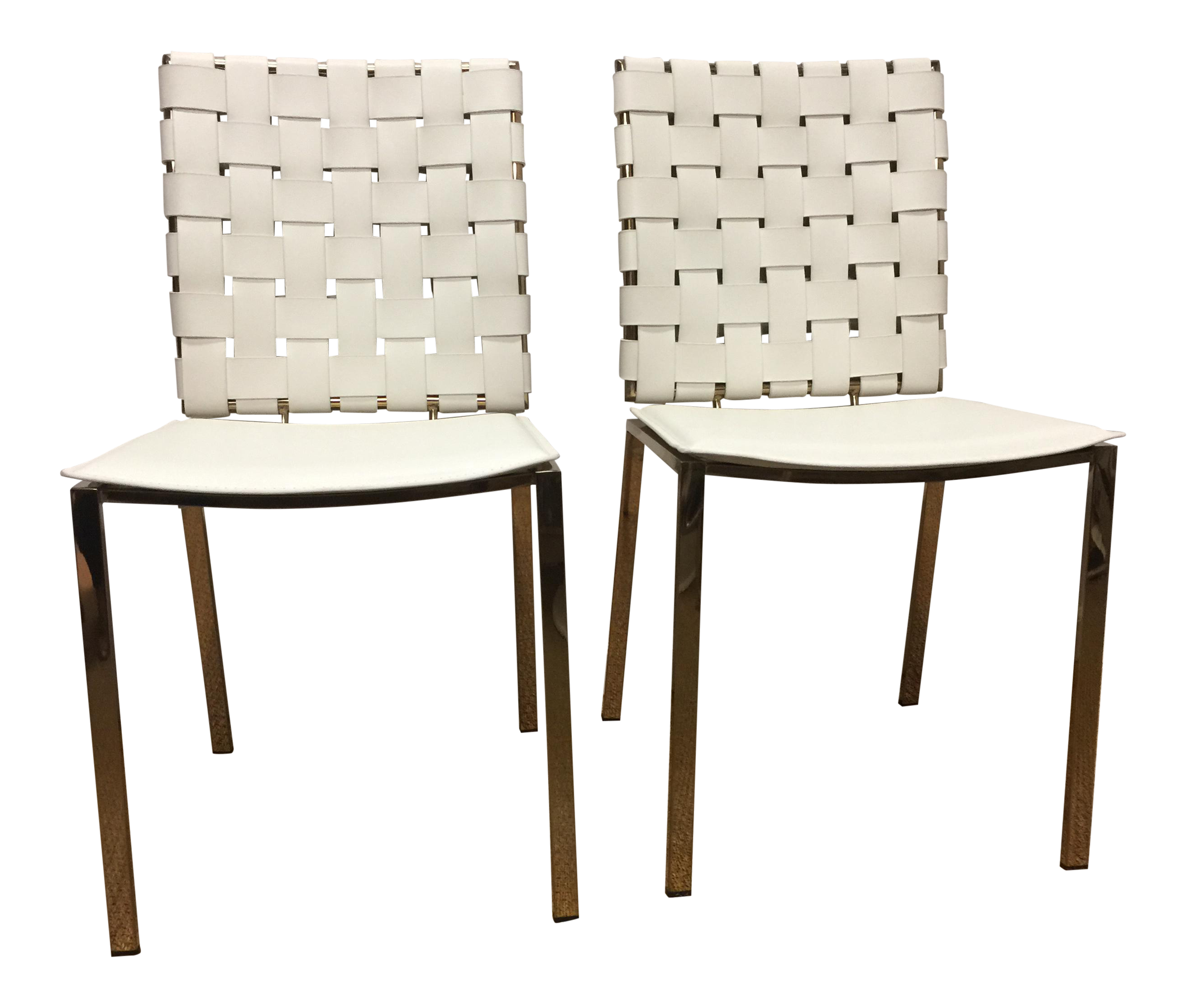 white leather u0026 lacquered brass chairs a pair