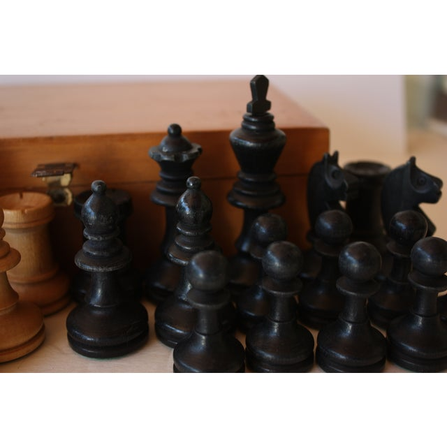 Image of Mid-century Carved Wood Chess Pieces With Box