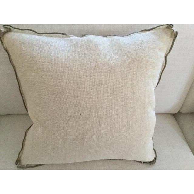 """Ethan Allen """"Hers"""" Burlap Pillow - Image 3 of 3"""