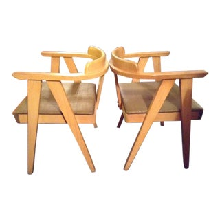 Vintage Mid-Century Modern Limed Oak Compass Chairs - A Pair