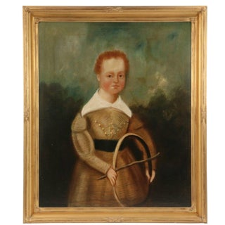 "Early American Folk Portrait of a Young Boy - 29"" x 32"""