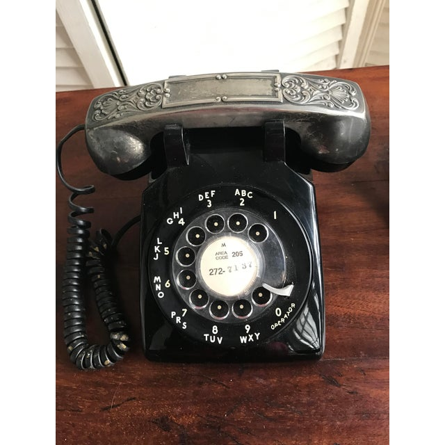 Image of Vintage Rotary Dial Phone with Silverplate Receiver