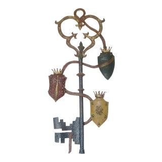 English Tole Painted & Parcel Gilt Key