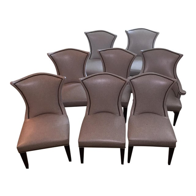 Lee Industries Custom Leather Dining Chairs- Set Of 8