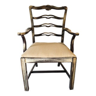 Chippendale Style Ribbon-Back Side Chair Distressed 38 x 24 x 26W Decor Finish