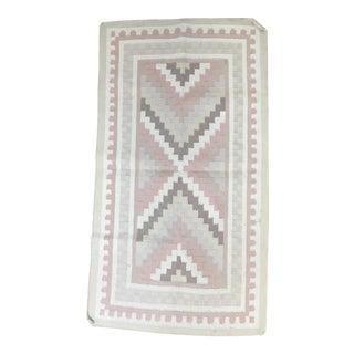 "Blush & Tan Handwoven Wool Kilim Rug - 3' x 5'2"""