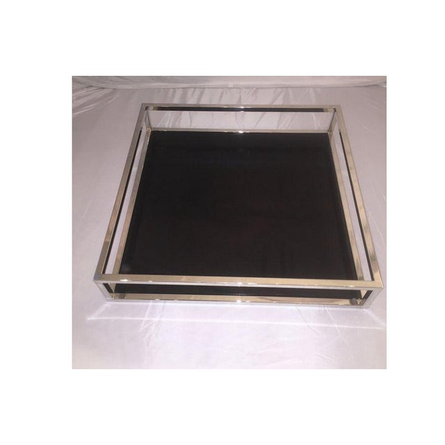 Image of Mid-Century Style Chrome & Black Lacquered Tray