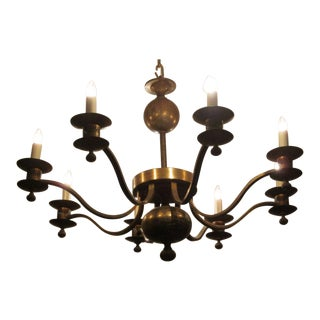 French 40's Modern Neoclassical Brass Chandelier