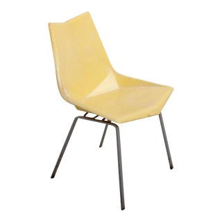 Paul McCobb Yellow Origami Side Chair on Rare Solid Base, USA, 1950s
