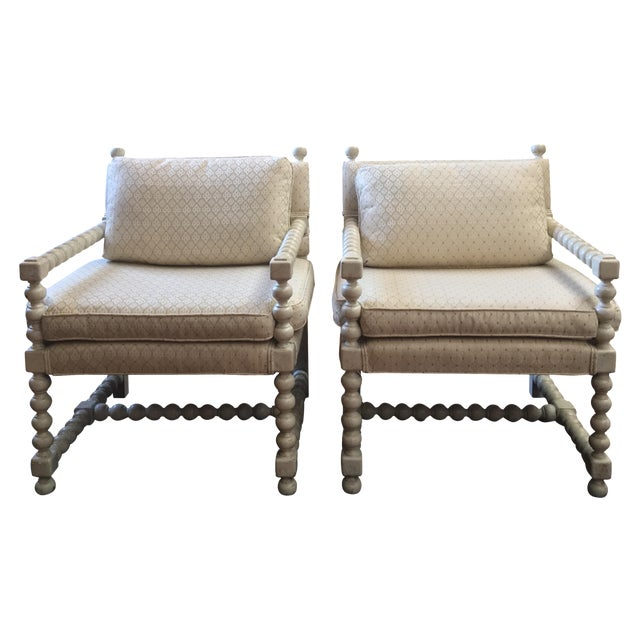 Mid-Century Turned Wood Chairs - A Pair - Image 1 of 7