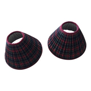 Tartan Plaid Pleated Lamp Shades - A Pair