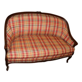 Plaid Fabric Upholstered Settee