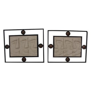 Vintage Ceramic & Brutalist Frame Wall Art - Pair