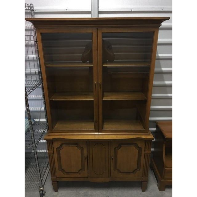 Vintage Fruitwood Hutch China Cabinet - Image 2 of 7