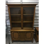 Image of Vintage Fruitwood Hutch China Cabinet