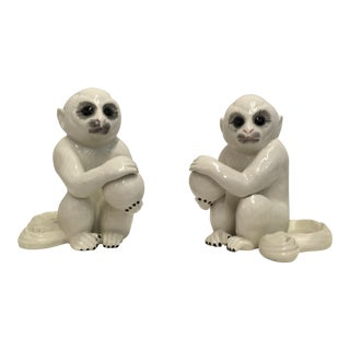 Italian Ceramic Monkey Bookends - A Pair