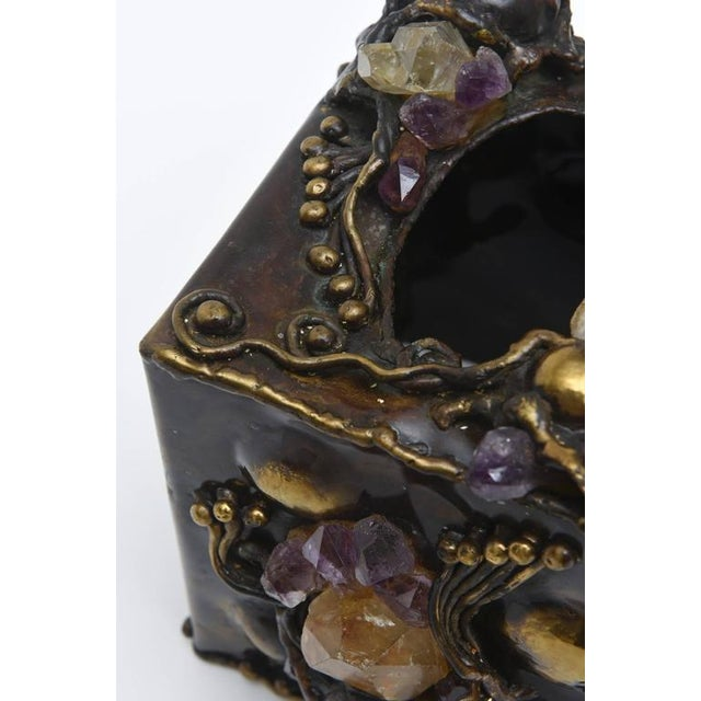 Brutalist Sculptural Mixed Metal and Amethyst, Quartz Tissue Box/ SAT.SALE - Image 8 of 10