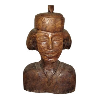 Large Carved Wooden Head by Elias 1980's