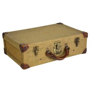 Antique 1930s Brown Tweed Suitcase