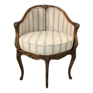1950s French Arm Chair In Linen