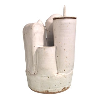 Vintage Cityscape Pottery Piece