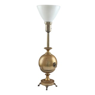 Neo Classical Early Stiffel Brass Lamp With Milk Glass Torchiere and Original Shade