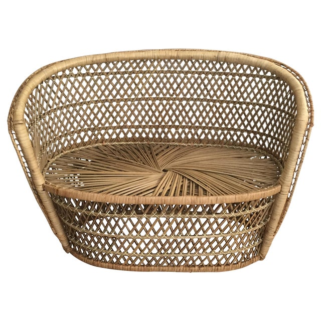 Vintage Child's Wicker Bench - Image 1 of 6
