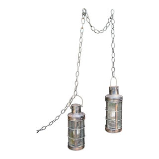 Nautical Copper Marine Oil Lanterns - A Pair