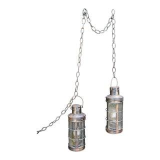 Nautical Copper Marine Oil Lanterns- A Pair