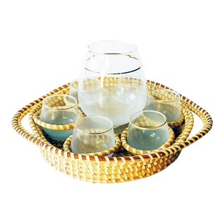 Aqua Blendo Drink Set & Rattan Tray