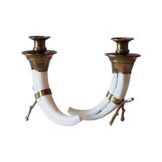 Brass & Faux Horn Candlesticks - Pair