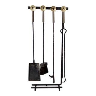 Mid-Century Black Metal Fireplace Tool Set - 4 Pieces