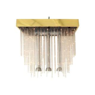 MCM Brass & Chrome Flush Mount Chandelier w/ LED Rods