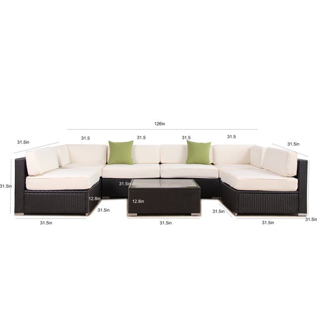 Modern Patio Rattan Sectional - Set of 7 - Image 5 of 7